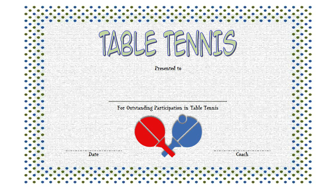 Table Tennis Certificate Template Free 1 | Certificate pertaining to Table Tennis Certificate Template Free