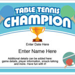 Table Tennis Champion Certificate – Free Award Certificates For Best Table Tennis Certificate Template Free