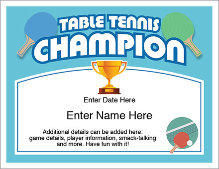 Table Tennis Champion Certificate - Free Award Certificates For Best Table Tennis Certificate Template Free