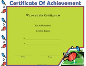 Table Tennis Printable Certificate with regard to Best Table Tennis Certificate Template Free