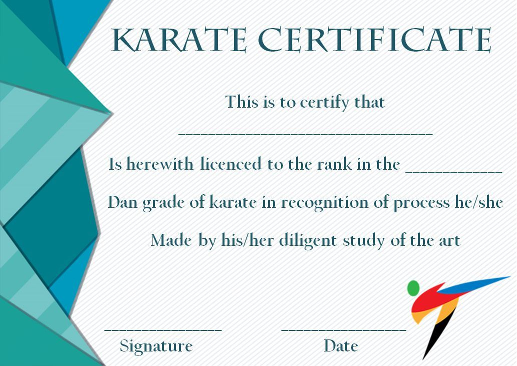 Taekwondo Certificate Templates For Trainers & Students regarding Karate Certificate Template