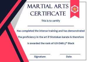 Taekwondo Certificate Templates For Trainers & Students throughout Karate Certificate Template