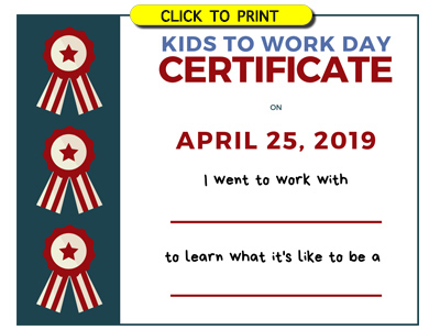 Take Your Child To Work Day – Daughters And Sons To Work Day With Certificate For Take Your Child To Work Day