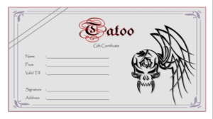 Tattoo Gift Certificate Template (5) – Templates Example With Regard To Fresh Tattoo Gift Certificate Template