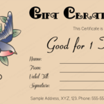 Tattoo Gift Certificate Template (Editable Business Gift With Regard To Quality Tattoo Gift Certificate Template