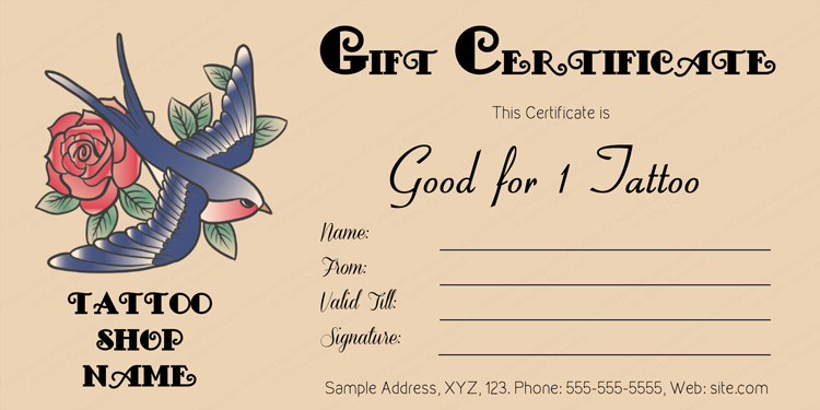 Tattoo Gift Certificate Template (Editable Business Gift With Regard To Tattoo Gift Certificate Template