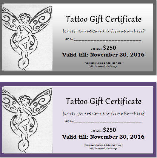 Tattoo Gift Certificate Template For Ms Word | Document Hub inside Tattoo Gift Certificate Template