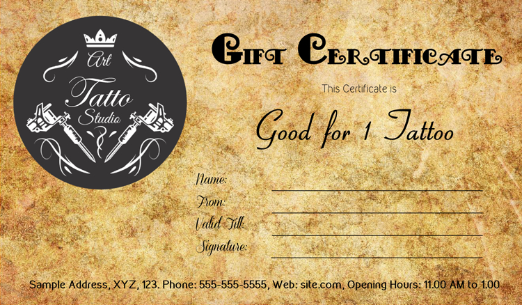 Tattoo Gift Certificate Template #Gift #Certificate intended for Fresh Tattoo Gift Certificate Template