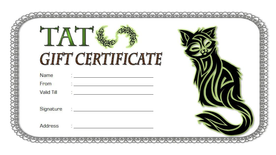 Tattoo Shop Gift Certificate Template Free 1 | Certificate in Tattoo Certificates Top 7 Cool Free Templates