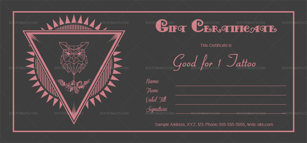 Tattoo Shop Gift Certificate Template (Owl) – Doc Formats In regarding Fresh Tattoo Certificates Top 7 Cool Free Templates