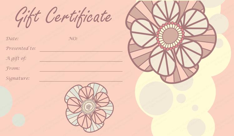 Tea Pink Flowers Gift Certificate Template regarding Pink Gift Certificate Template