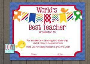 Teacher Appreciation Certificate, End Of The Year, Class, Classroom, School  Gift – Printable Digital File – 8.5X11 within Quality Teacher Appreciation Certificate Templates