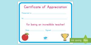 Teacher Appreciation Certificate (Teacher Made) throughout Teacher Appreciation Certificate Templates