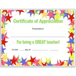Teacher Appriecation Certificates | Stars Teacher'S pertaining to Teacher Appreciation Certificate Templates