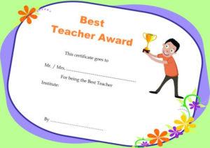 Teacher Of The Month Certificate Templates : 11+ Word Award with regard to Best Teacher Certificate Templates