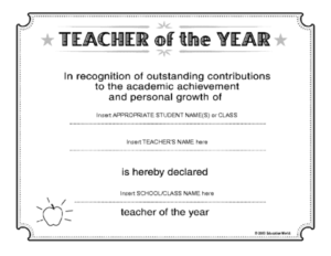 Teacher Of The Year Certificate Template | Teacher with Teacher Of The Month Certificate Template