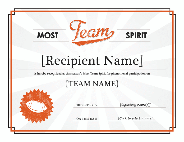 Team Spirit Award Certificate | Award Template, Free intended for New Baseball Certificate Template Free 14 Award Designs