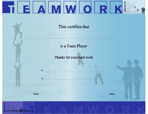 Teamwork Certificate Printable Certificate inside Fresh Free Teamwork Certificate Templates
