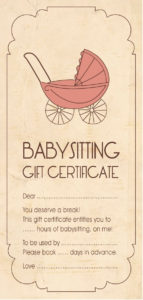 Template For Baby-Sitting Gift Certificate. #Babyshower with regard to Babysitting Gift Certificate Template