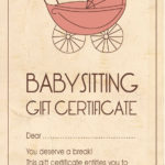Template For Baby Sitting Gift Certificate. #Babyshower With Regard To Babysitting Gift Certificate Template