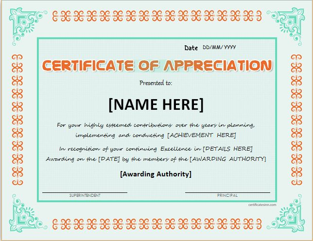 Template For Certificate Of Appreciation In Microsoft Word pertaining to Template For Certificate Of Appreciation In Microsoft Word