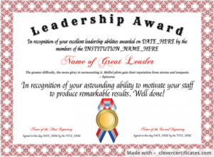Template : Free Leadership Award Template At for New Leadership Award Certificate Template