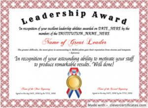 Template : Free Leadership Award Template At inside Quality Leadership Award Certificate Templates