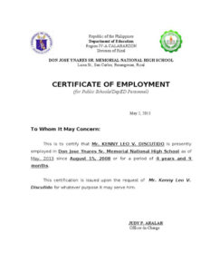 Template Of Certificate Of Employment | Business Letter intended for Fresh Template Of Certificate Of Employment