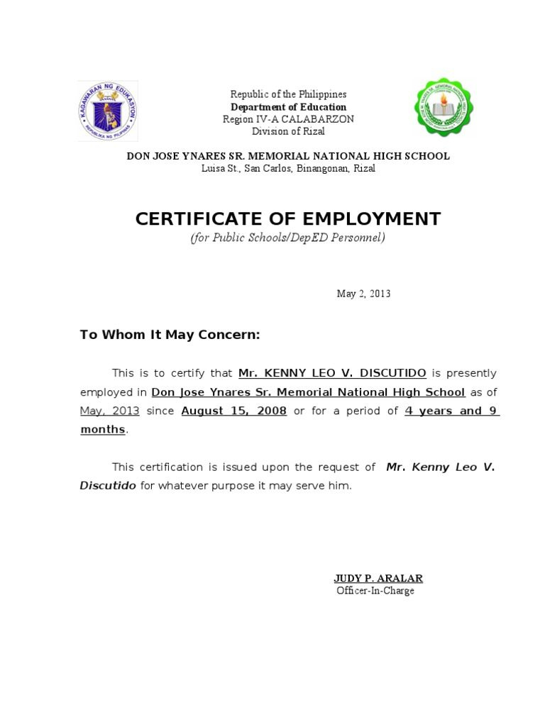Template Of Certificate Of Employment   Business Letter within New Certificate Of Employment Template