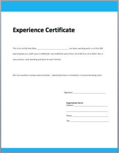 Template Of Experience Certificate | Certificate Format intended for Template Of Experience Certificate