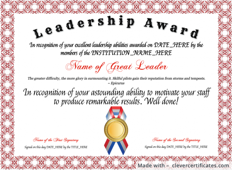 Template : The Glamorous Certificates – School Of Management Inside Quality Leadership Certificate Template Designs