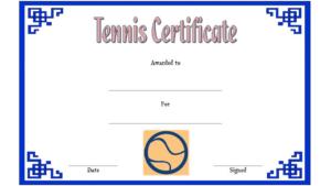 Tennis Award Certificate Template Free 2 Di 2020 within Tennis Certificate Template