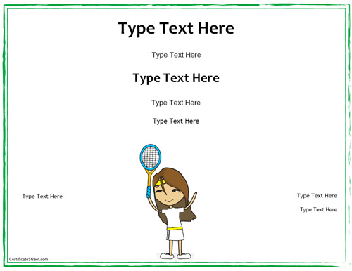 Tennis Certificate Template Free (1) - Templates Example pertaining to Unique Tennis Gift Certificate Template