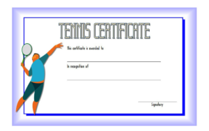 Tennis Certificate Template Free 2 | Certificate Templates intended for Tennis Gift Certificate Template