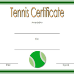 Tennis Certificate Template Free 4 Di 2020 With Printable Tennis Certificate Templates 20 Ideas