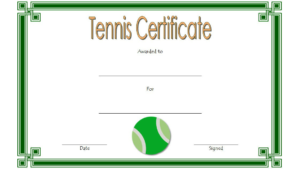 Tennis Certificate Template Free 4 Di 2020 with Printable Tennis Certificate Templates 20 Ideas