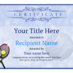 Tennis Certificate Template Free (7) – Templates Example In Best Table Tennis Certificate Template Free