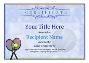 Tennis Certificate Template Free (7) – Templates Example in Best Table Tennis Certificate Template Free