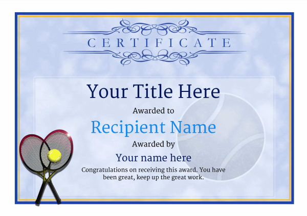Tennis Certificate Template Free (7) - Templates Example intended for Table Tennis Certificate Templates Editable