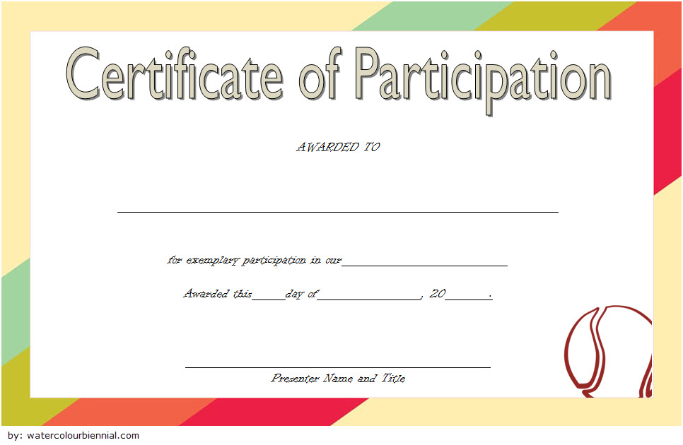Tennis Participation Certificate Template Free 2 inside Fresh Tennis Participation Certificate