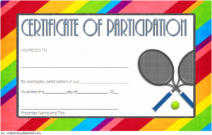 Tennis Participation Certificate Template Free 4 in Tennis Participation Certificate