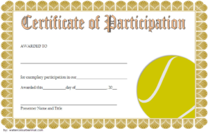 Tennis Participation Certificate Template Free 5 with Tennis Participation Certificate