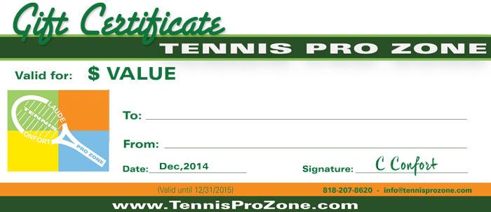 Tennis Pro Zone Gift Certificates - Tennis Pro Zone Academy throughout Tennis Gift Certificate Template