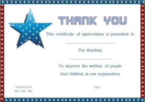 Thank You For Donation Certificate Template | Certificate with Thanks Certificate Template