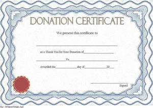 Thank You For Your Donation Certificate Template Free 5 in New Donation Certificate Template Free 14 Awards