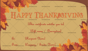 Thanksgiving Gift Certificate Template (Autumn, #5597) – Doc in Unique Thanksgiving Gift Certificate Template Free