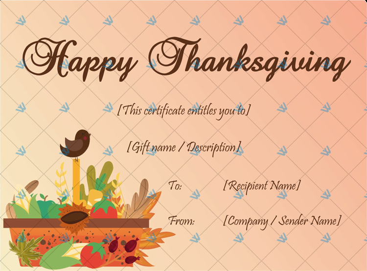 Thanksgiving Gift Certificate Template (Basket) - Word within Unique Thanksgiving Gift Certificate Template Free