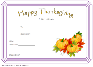 Thanksgiving Gift Certificate Template Free (Harvest Theme regarding Unique Thanksgiving Gift Certificate Template Free