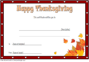 Thanksgiving Gift Certificate Template Free (Towards The inside Thanksgiving Gift Certificate Template Free