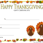 Thanksgiving Gift Certificate Template Free (Turkey Theme with regard to Unique Thanksgiving Gift Certificate Template Free